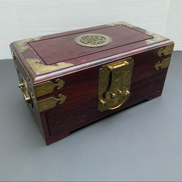 Vintage Asian Wood and Brass Jewelry Box